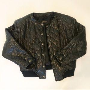 Express Genuine Leather Black Jacket Size S